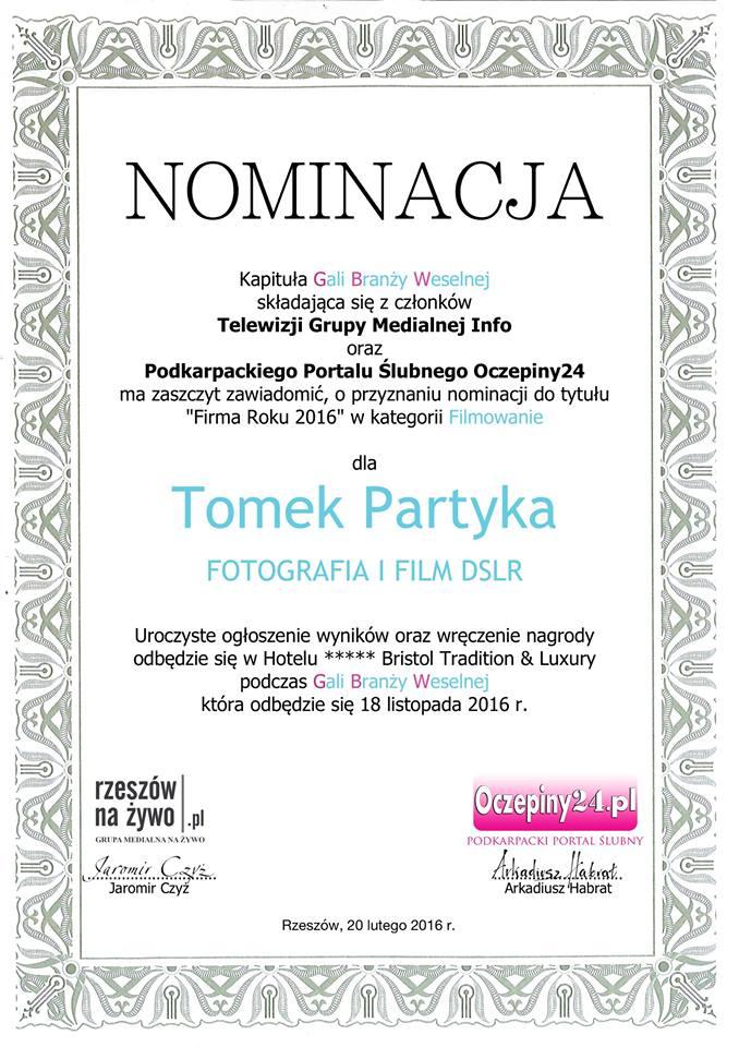 nominacja gala branży weselnej firma roku 2016 w branży ślubnej filmowanie i fotografia tomek partyka